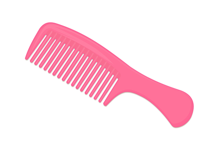 Pink Comb Isolated on White Background Illustration