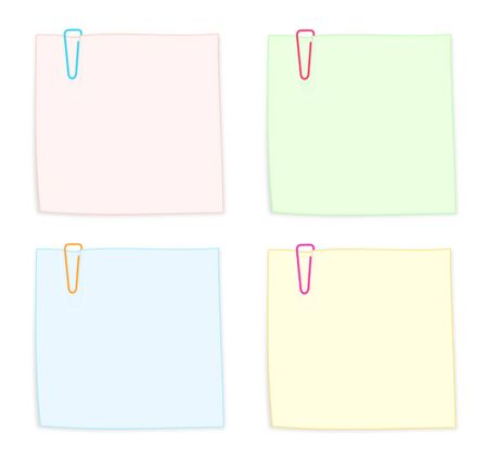 Set of Colorful Notes with Paper Clips Isolated on White Background Illustration