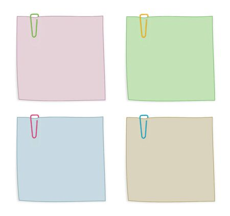 Set of Dark Pastel Notes with Paper Clips Isolated on White Background Illustration