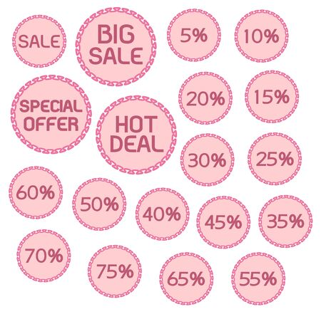 Sweet Pink Pastel Color Sale Labels Discount Price Tags Stickers Isolated on White Background