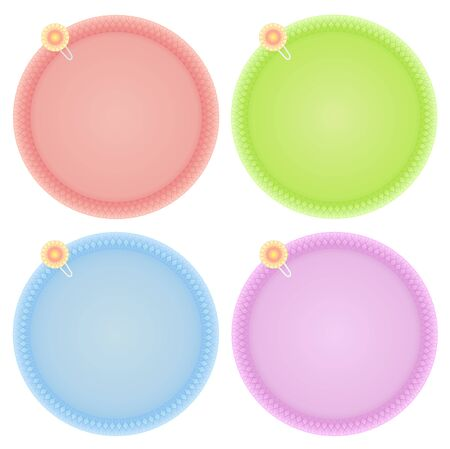 Set of Blank Circle Dark Pastel Paper Notes with Flower Paper Clips Isolated on White Background Illustration