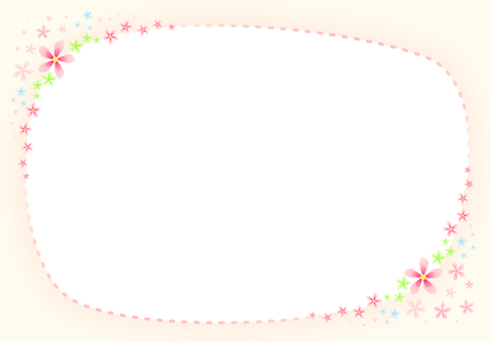 Blank Sweet Pink Flower and Dashed Line Border with Gradient Sweet Pink Frame Illustration Stock fotó