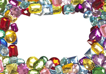 diamond stones: A jeweled border around a blank white center Stock Photo