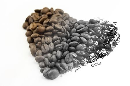 fading: Unground coffee beans shaped into a heart, fading from color to black and white and then to words