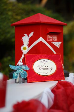 registro: Caja roja de la caja de la boda