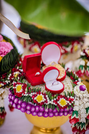 Flower tray with engage ring for Thai traditional wedding Stock Photo
