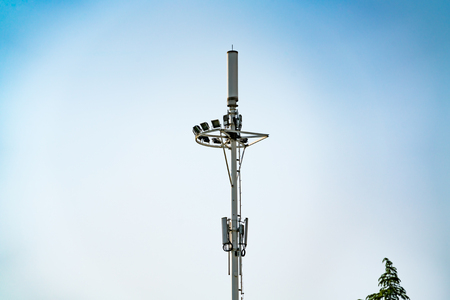 communication tower pole, mobile, internet 4G, wifi with blue sky background