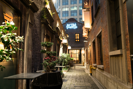 XINTIANDI SHANGHAI, CHINA APRIL, 2017 : a narrow street between pub and art gallery with a cute tree