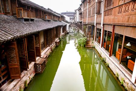 Chinese village house beside the lake at Wuzhen, China