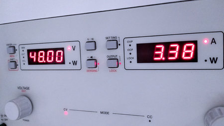 close up the display of programmable DC power supply