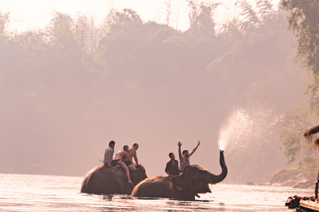 KANCHANABURI, THAILAND - FEB, 2018 : tourism ride the elephant to take a shower at Kwai river, travel and adventure activity in Thailand
