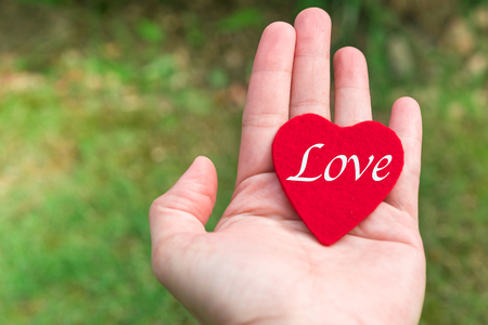 red heart with love word in hand on the green grass backgrounds with copy space Stock Photo