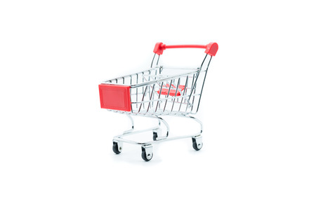 Empty shopping cart trolley isolated on white backgrounds