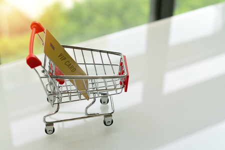VIP credit card on shopping cart trolley on white table with green backgrounds