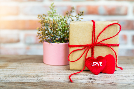 Heart shape with LOVE word, Gift box and flower, copy space for texting