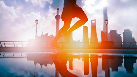 morning run at the bund huangpu riverside, Shanghai China Reklamní fotografie