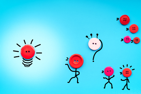 opinions and ideas sharing concept, teamwork button raise hand to share idea to leader
