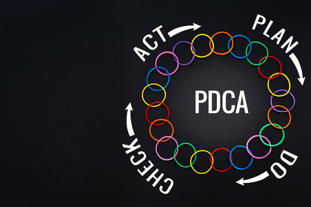 PDCA process improvement, Action plan strategy. colorful rubber band on the black backgrounds with text PLAN, DO, CHECK and ACT with copy space