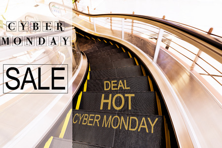 Cyber Monday Sale, escalator in Shopping mall moving motion with world Cyber Monday Hot deal Фото со стока