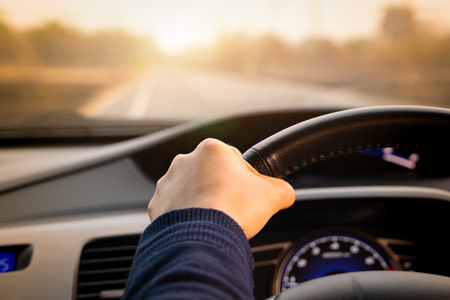 Safe drive, speed control and security distance on the road, driving safely Stock Photo