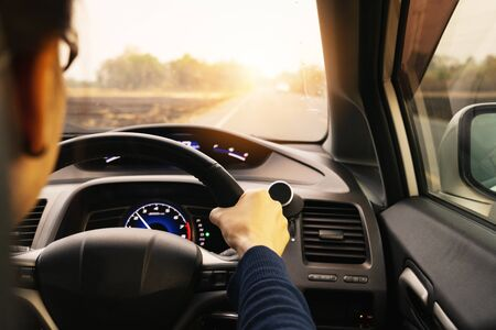 Safe drive, speed control and security distance on the road, driving safely Stockfoto