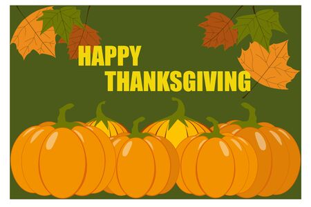 Happy Thanksgiving Day with maple leaves and pumpkin vector