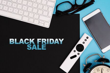 Black Friday Sale, electronic device on black and blue background