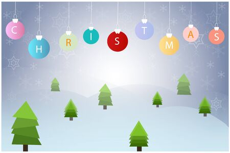 Christmas ball hanging with pine tree vector on blue background
