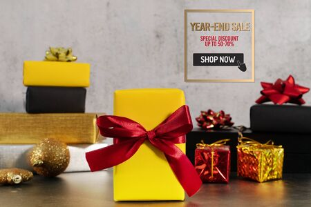 Year-End sale, gift box with Christmas present for online shopping