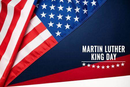 Martin Luther King, Jr. Day Anniversary - American flag Banco de Imagens - 136964321