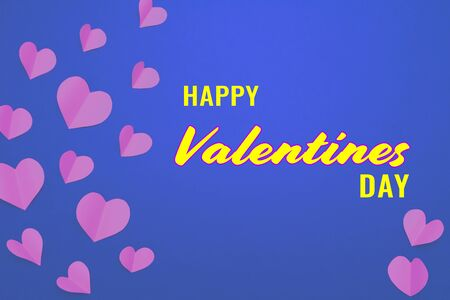 Valentine card with pink heart on blue background, abstract, flat lay, top view Banco de Imagens