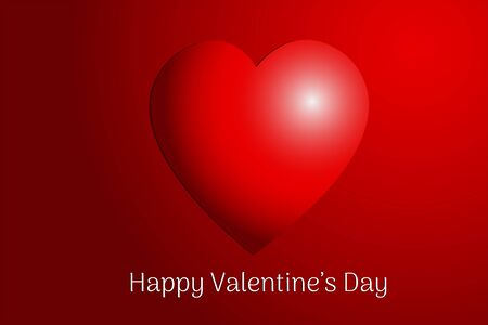 Valentines day concept. Vector illustration. Red hearts 3d on red background. love sale banner or greeting card Ilustração