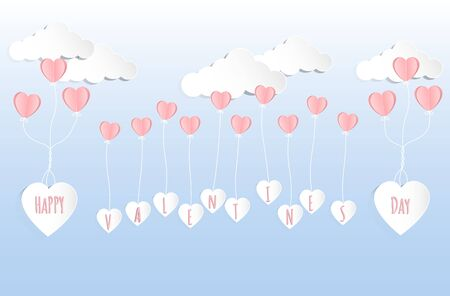 Valentines day concept background. Vector illustration. Pink paper hearts fly with white paper heart on blue sky and cloud. Cute love sale banner or greeting card