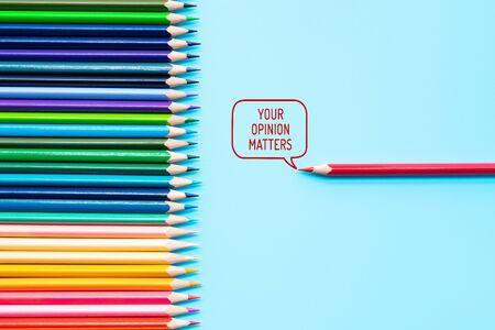 Your opinion matters. group of color share opinion on blue background