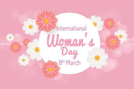 International Womens Day. March 8th greeting card. Vector illustration background Ilustração