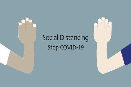 Social distancing concept, Thai Wai, Coronavirus pandemic 2019-ncov prevention, Virus spread prevention. Quarantine measures concept