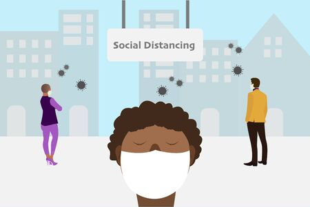 Social distancing and work from home concept, Coronavirus COVID-19 pandemic 2019-ncov prevention, Virus spread prevention. Quarantine measures concept
