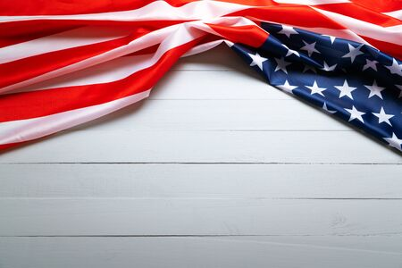 USA Memorial day and Independence day concept, United States of America flag on wooden background Foto de archivo