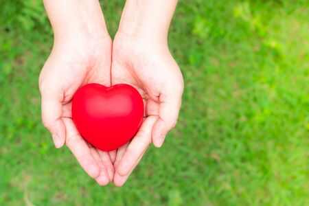 woman holding red heart on hand, Blood donation concept