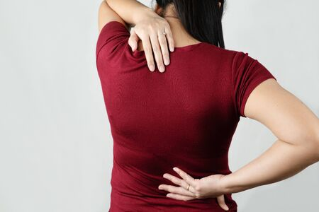 neck and back pain, young women injury, healthcare and medical concept