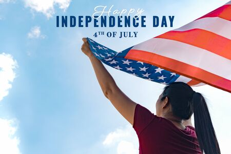 woman holding United States of Independence day concept.