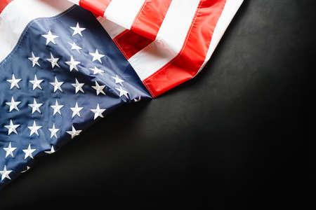 American flag on black background, stars and stripes closeup Reklamní fotografie