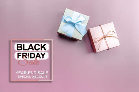 black friday sale, gift box on pink background for special day