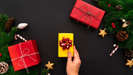 hand holding Christmas gift box and pine tree with xmas decoration on black background