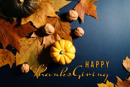 Happy Thanksgiving Day with maple leaves, nut and pumpkin on blue background Zdjęcie Seryjne