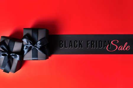 Black Friday sale, black gift box for online shopping Stock Photo