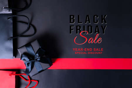 Black Friday sale, black gift box and shopping bag for online shopping