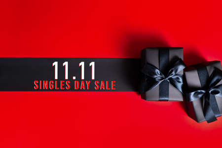 11.11 single day sale concept, black gift box for online shopping