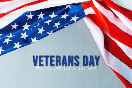 Veterans day with America flag waving Archivio Fotografico