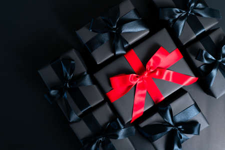 Boxing day Sale concept Christmas gift box on cement background, top view